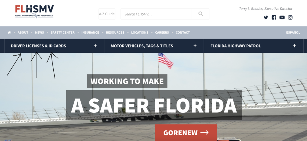 Florida Department of Highway Safety and Motor Vehicles website